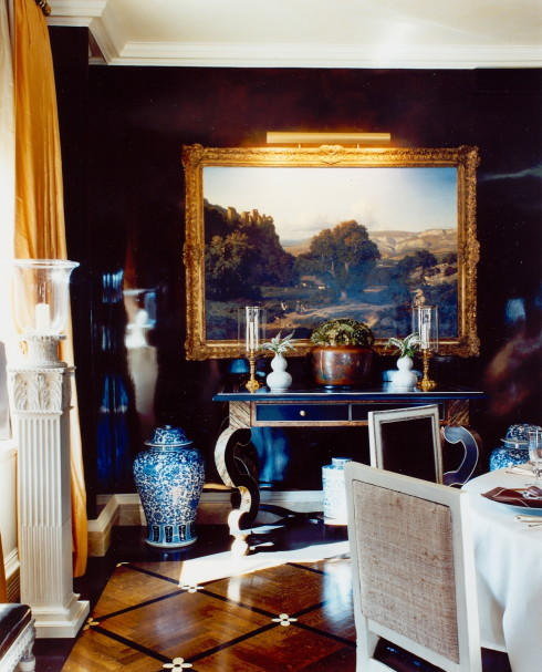 New York Dining Room with chocolate brown lacquered walls
