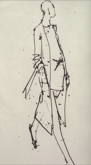 Drawing of a Halston design by Joe Eula- 1974